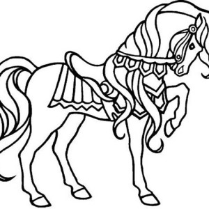Amazing Stallion Horses Coloring Page