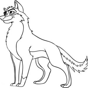 Animation Wolf Coloring Page