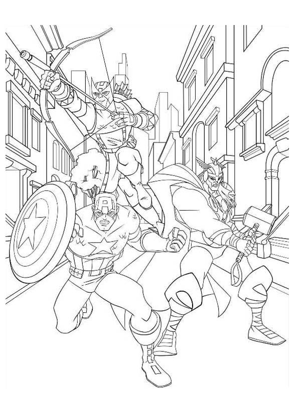 Print Avengers Character Hawkeye And Captain America Thor Coloring Page In Full Size