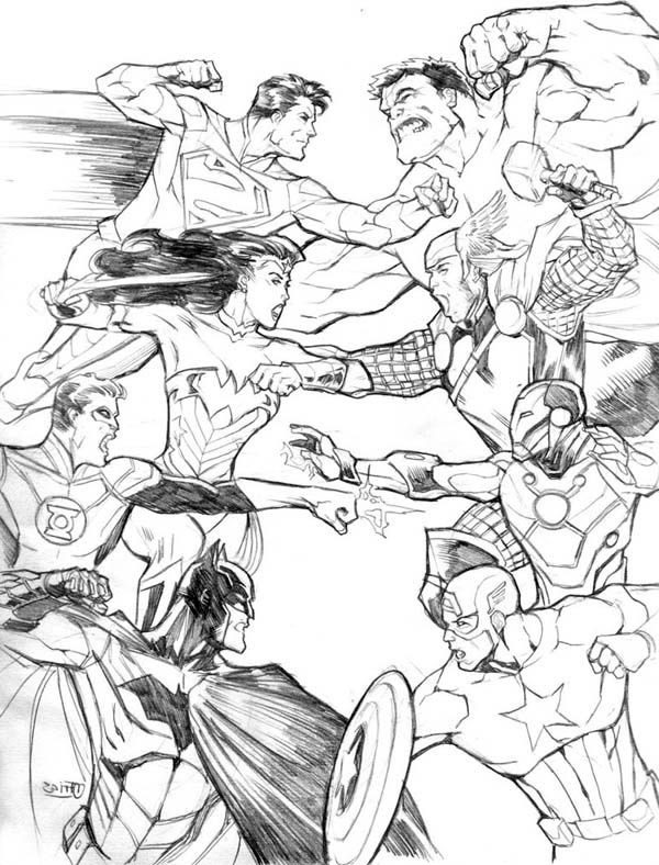 Avengers Vs Justice League In Avengers Coloring Page ...