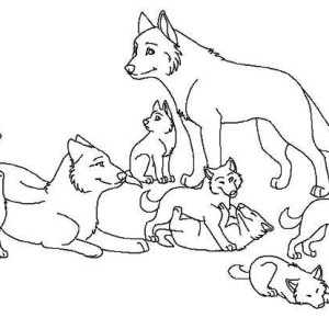 Babies Wolf Coloring Page