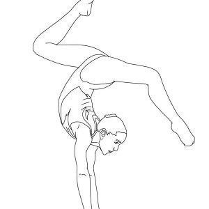 Balance Beam Artistic Gymnastic Coloring Page