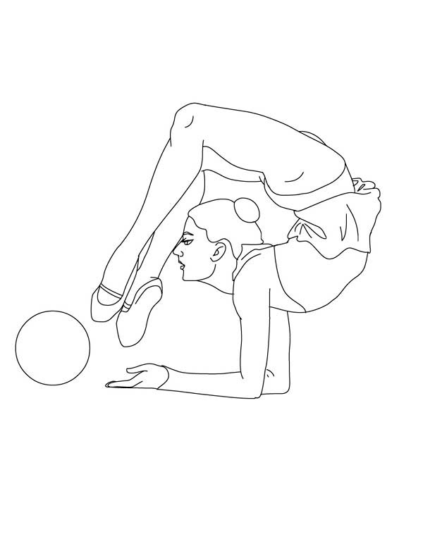Ball Individual All Around Rhythmic Gymnastic Coloring Page