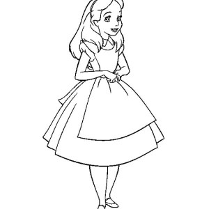 Beautiful Alice In Wonderland Coloring Page