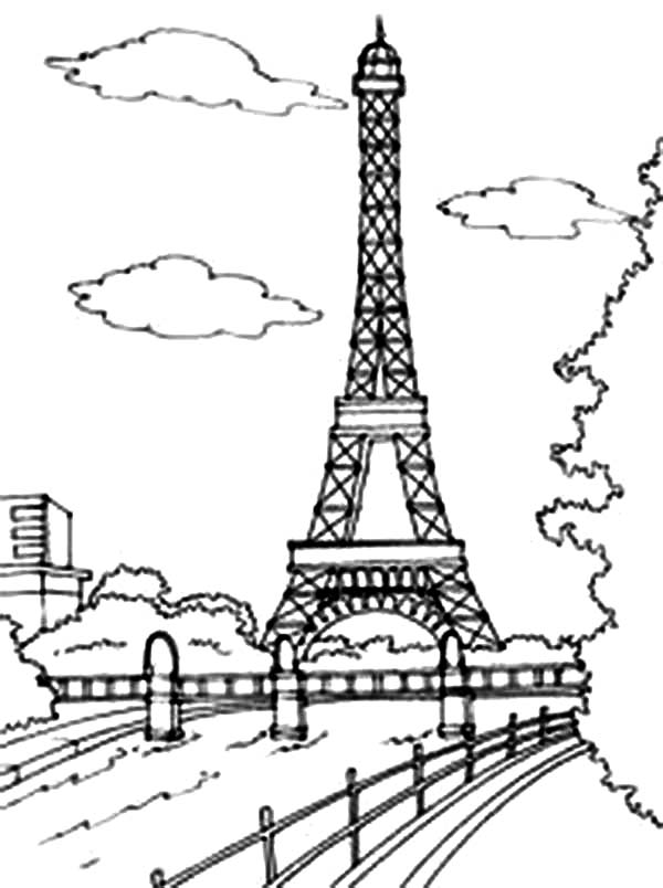 Beautiful View Of Eiffel Tower Coloring Page