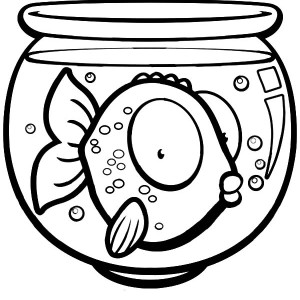 Big Eyed Fish In Fish Bowl Coloring Page