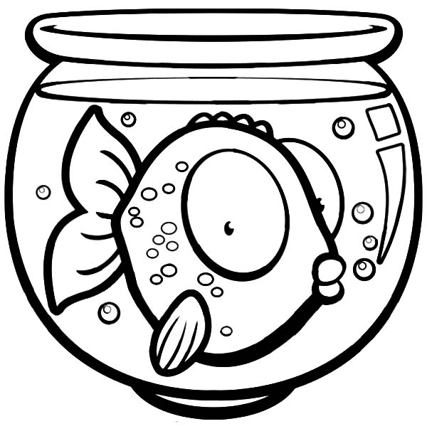 Big Eyed Fish In Fish Bowl Coloring Page Download Print Online