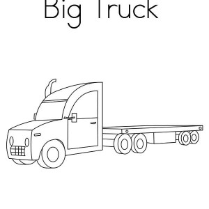 Big Flat Base Semi Truck Coloring Page