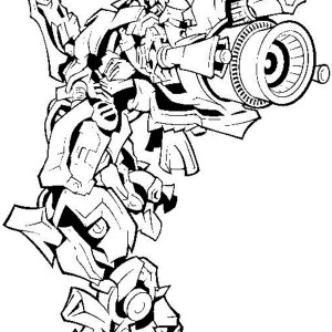 Bumblebee Firing Bazooka In Transformers Coloring Page