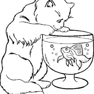 Cat Trying To Catch Fish In Fish Bowl Coloring Page