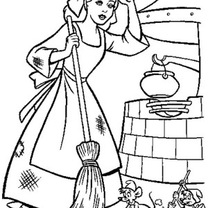 Cinderella Cleaning Her House In Cinderella Coloring Page