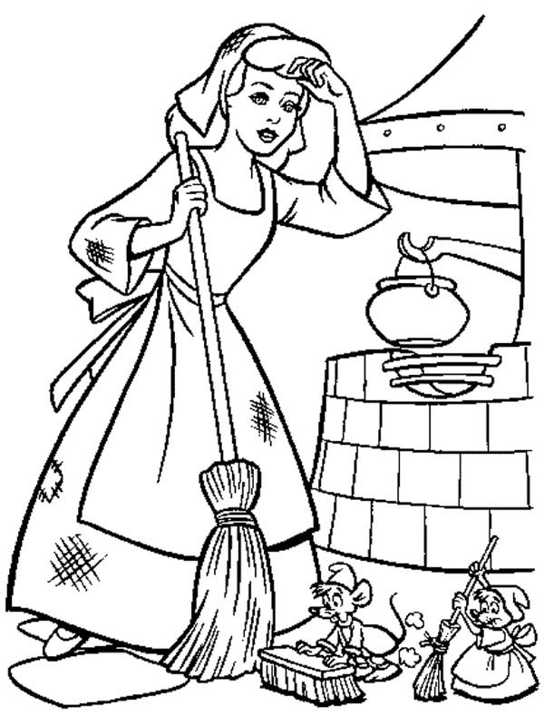Cinderella Cleaning Her House In Cinderella Coloring Page Download
