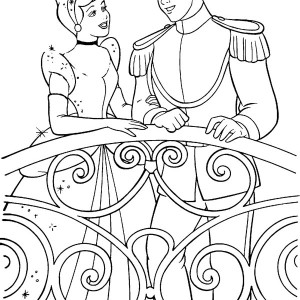 Cinderella Talking To Prince Charming In Cinderella Coloring Page