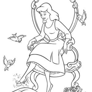 Cinderella Trying Glass Slipper In Cinderella Coloring Page