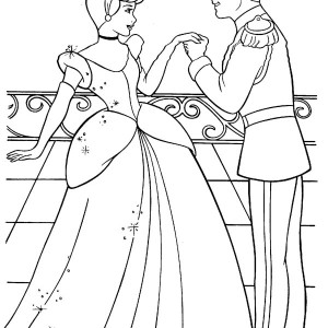 Cinderella And Prince Charming Are In Love In Cinderella Coloring Page