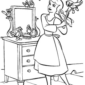Cinderella In Her Room With Friends In Cinderella Coloring Page