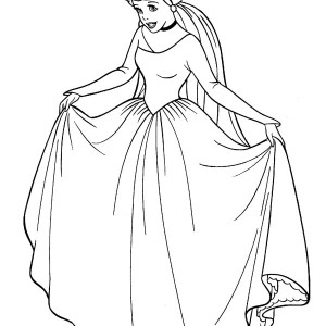 Cinderella In Her Wedding Dress In Cinderella Coloring Page