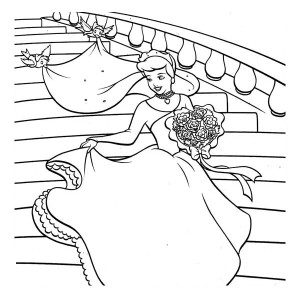 Cinderella So Happy In Her Wedding Dress In Cinderella Coloring Page