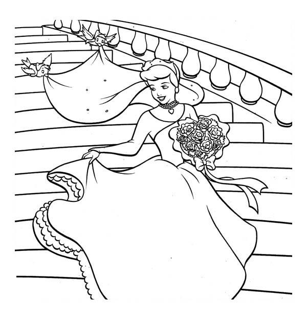 Cinderella So Happy In Her Wedding Dress In Cinderella Coloring Page