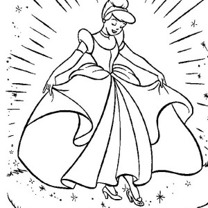 Cinderella's New Beautiful Dress In Cinderella Coloring Page
