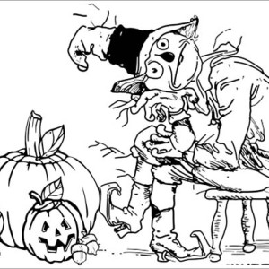 Creepy Scarecrow And Pumpkins Coloring Page