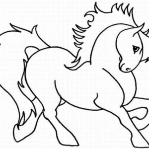 Cute Horse Cartoon In Horses Coloring Page