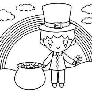 Cute Kid Under The Rainbow In St Patricks Day Coloring Page