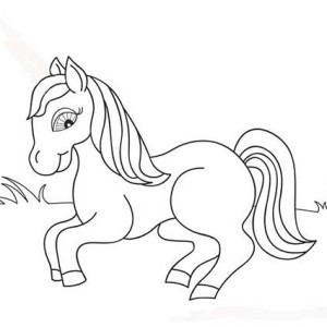 Cute Little Pony in Horses Coloring Page