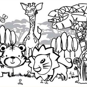Cute Rainforest Animals Coloring Page