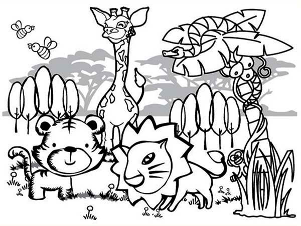 Amazon Rainforest Animals Coloring Page - Download & Print Online ... | 452x600