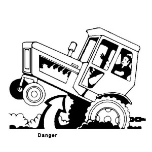 Dangerous Tractor Coloring Page