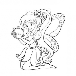 Disney Beautiful Fairies With Tambourine Coloring Page