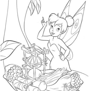 Disney Fairies Tinkerbell Make Boat Frm Fruits Coloring Page