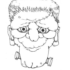 Dreadful Frankenstein Head Coloring Page