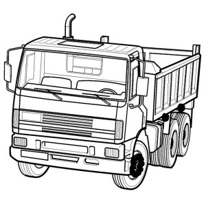 Dump Truck In Semi Truck Coloring Page