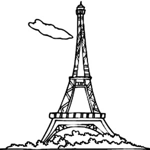 Eiffel Tower France Romance Coloring Page