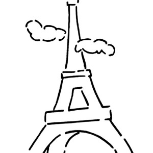 Eiffel Tower and Cloudy Sky Coloring Page
