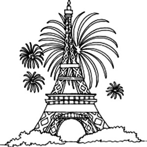 Eiffel Tower And Firework Coloring Page