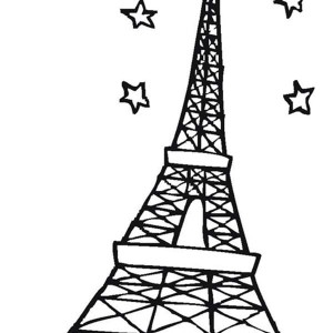 Eiffel Tower And Stars In The Sky Coloring Page