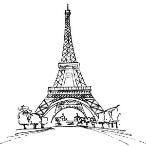 Eiffel Tower From Distance Coloring Page