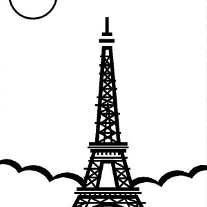 Eiffel Tower In The Night Coloring Page