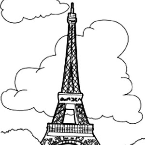 Eiffel Tower With Clouds Coloring Page