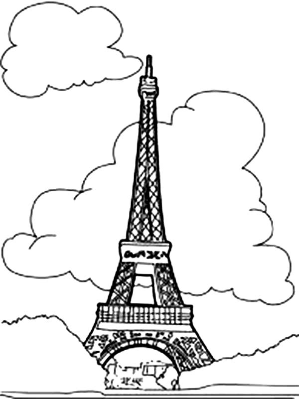 Eiffel Tower With Clouds Coloring Page Download Amp Print