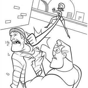 Elastigirl Punch Fro Far Away In The Incredibles Coloring Page