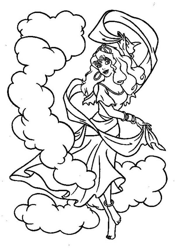Esmeralda Dance In The Hunchback Of Notre Dame Coloring ...