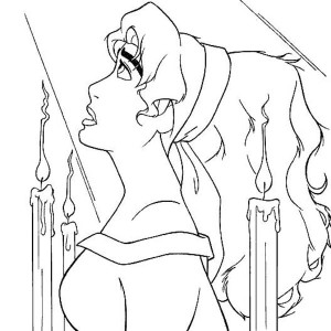 Esmeralda Is Sad In The Hunchback Of Notre Dame Coloring Page