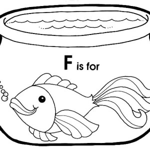 F Is For Fish In Fish Bowl Coloring Page