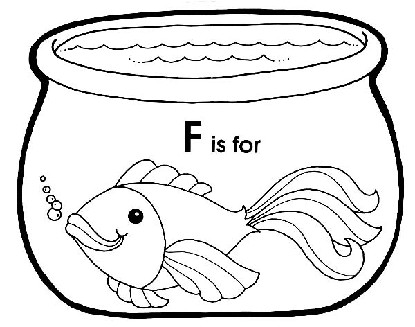 F Is For Fish In Fish Bowl Coloring Page Download