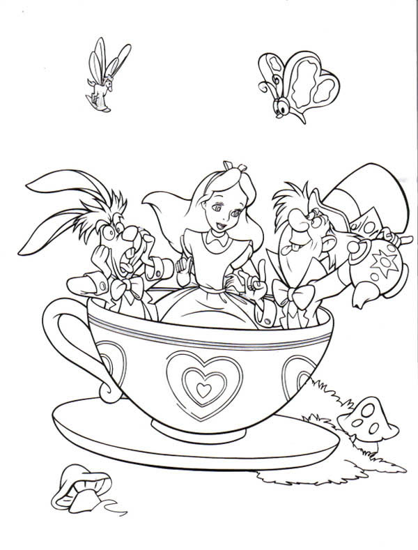 - Fantasyland Mad Tea Party Alice In Wonderland Coloring Page - Download &  Print Online Coloring Pages For Free Color Nimbus