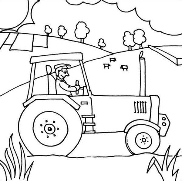 farmer on tractor coloring pages - photo#3